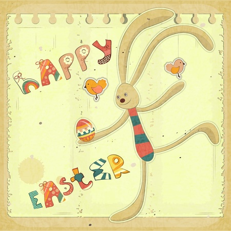 Retro Easter Card with Bunny and Egg. Hand Lettering Happy Easter Illustration. Vector