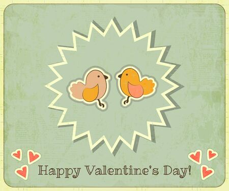 Retro Design of Valentines Card with two Cartoon Birds on Grunge Background Illustration. Vector