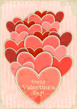 Retro Valentines Day Card with Hearts on Retro Background Illustration. Stock Vector - 16646455