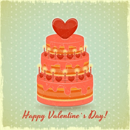 Valentines Cake with Sweet Hearts on Vintage Background  Vector Illustration  Vector