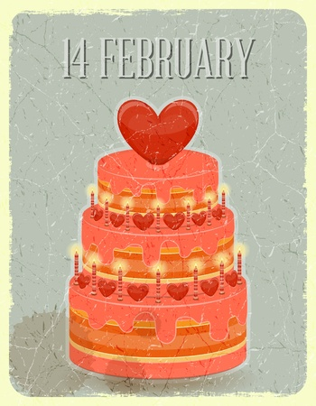 Valentines Cake with Sweet Hearts on Grunge Background  Vector Illustration  Vector