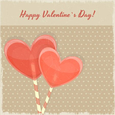 Retro Valentines Day Card with Sweet Hearts on Vintage Background  Vector Illustration  Stock Vector - 16708306