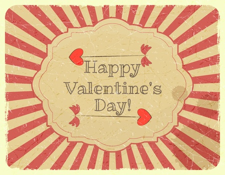 day valentine's day: Grunge Design Valentines Day Card with Cupid Arrow - vector illustration