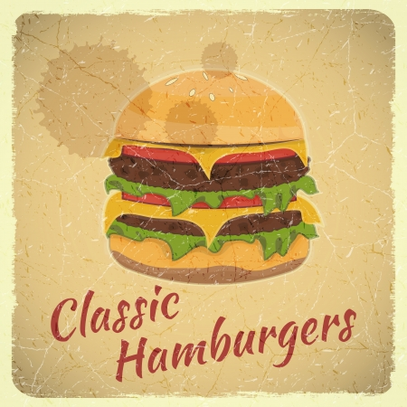 unhealthy food: Grunge Cover for Fast Food Menu - Hamburger on Retro Background