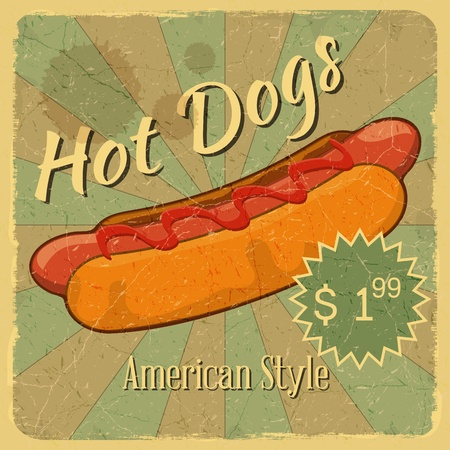 dog food: Grunge Cover for Fast Food Menu - Hot Dog on vintage background with place for price - illustration