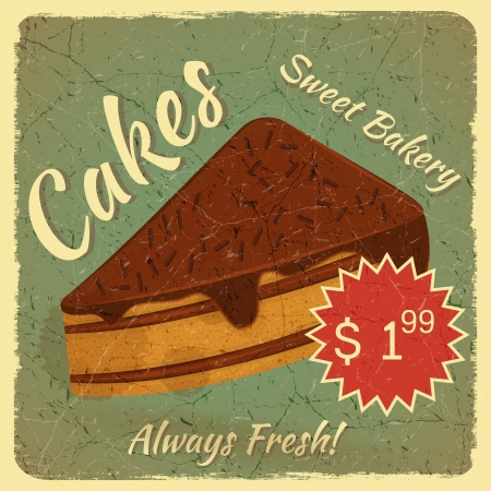 slice of cake: Retro Menu Card with Slice of Cake on vintage Grunge background with place for price - illustration