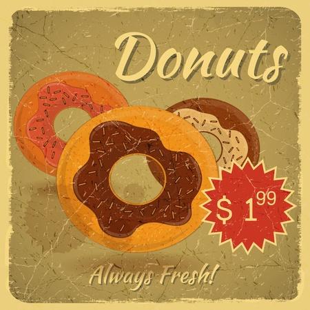 beignet: Carte Vintage, Retro menu de couverture Grunge - Donuts sur le fond de cru avec la place pour le prix - illustration
