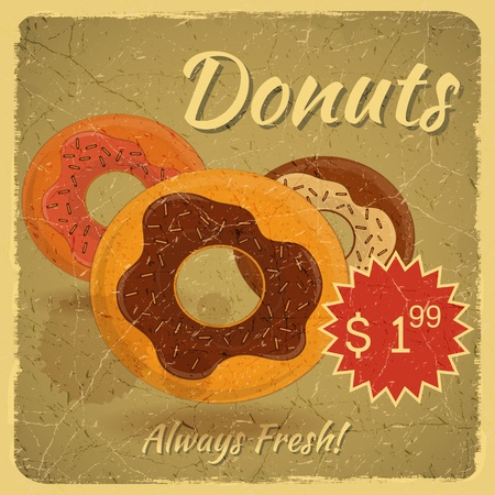 Vintage Card, Retro Grunge cover menu - Donuts on vintage background with place for price - illustration Vector