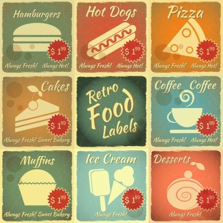 vintage cafe: Set di etichette dei prodotti alimentari d'epoca con il posto per il prezzo - Segni Retro con effetto grunge - illustrazione