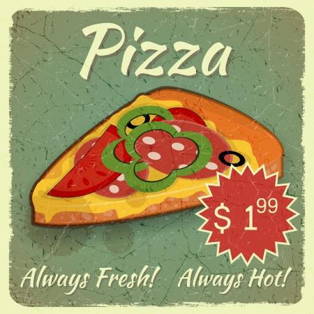pizzeria label: Men� Vintage, Tarjeta de Grunge con la rebanada de pizza, un lugar para el precio - ilustraci�n