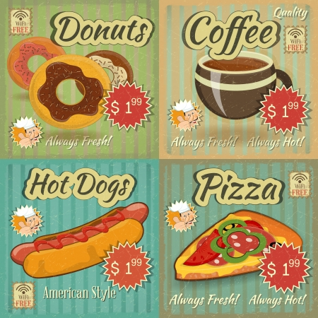 food label: set of Retro Fast Food Menu Cards. Vector Illustration.