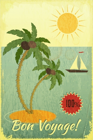 Retro Grunge Travel Postcard - Sea, Palm trees and Yacht on Vintage background. Vector Illustration. Vector