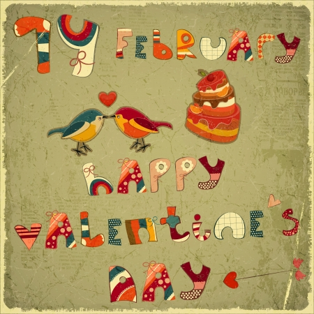 Valentines Day Vintage Card with Cake, birdies and hand lettering in Retro style - vector illustration Stock Vector - 17305500