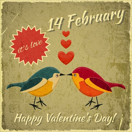 Retro Design of Valentines Card with two Cartoon Birds and Hearts on Grunge Background. Vector Illustration. Vector