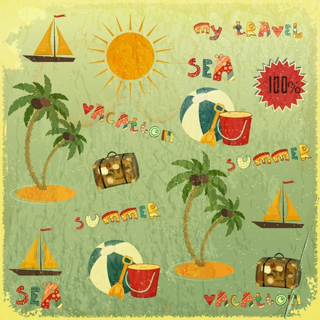 Summer Background. Retro Card with Summer Items and hand lettering in Vintage Style. Vector Illustration.