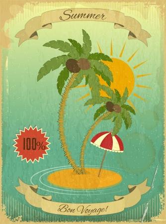 Retro Grunge Summer Vacation Postcard - Meer, Palmen und Sonne auf Vintage Hintergrund. Vector Illustration.