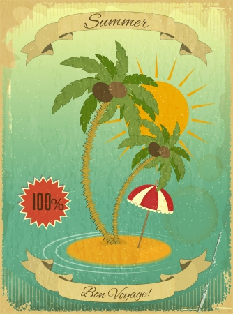 Retro Grunge Summer Vacation Postcard - Sea, Palm trees and Sun on Vintage background. Vector Illustration.