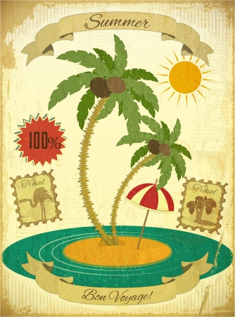 Retro Vintage Summer Travel Postcard - Sea, Palm trees and Sun on Vintage background.  Illustration. Vector