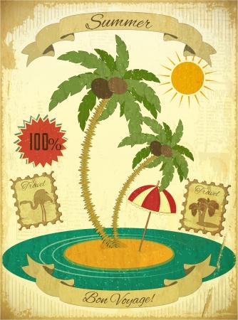 Retro Vintage Summer Travel Postcard - Meer, Palmen und Sonne auf Vintage Hintergrund. Illustration.