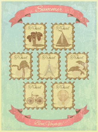 A set of stamps on the vintage background. Theme of travel.  illustration. Vector