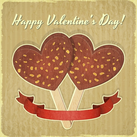 Valentines Day Retro Card. Two Ice Cream in the shape of Hearts on Vintage Background.  Illustration. Stock Vector - 17342942