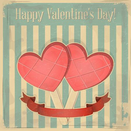 Valentines Day Retro Card. Two Pink Ice Cream in the shape of Hearts on Vintage Background.  Illustration. Stock Vector - 17342944