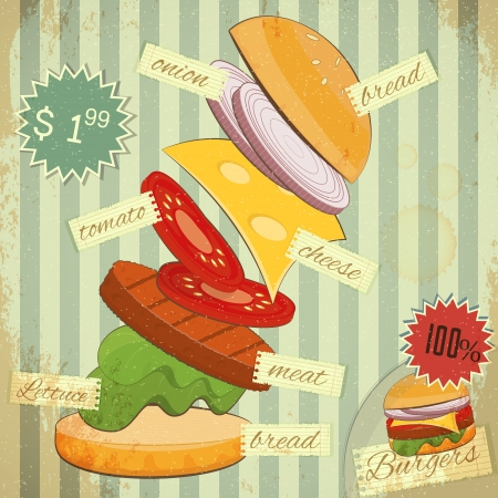 cheese burger: Retro Design of Fast Food Menu, Big Burger with Ingredients and place for Price on Vintage Background.