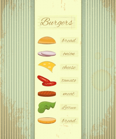 ingredient: Retro Design of Fast Food Menu, Big Burger with Ingredients on Vintage Background.