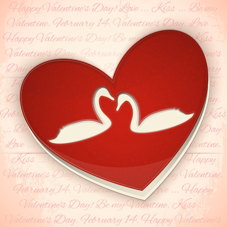 Valentines Greeting Card. Heart with Swans on Retro Background. Vector Illustration. Vector
