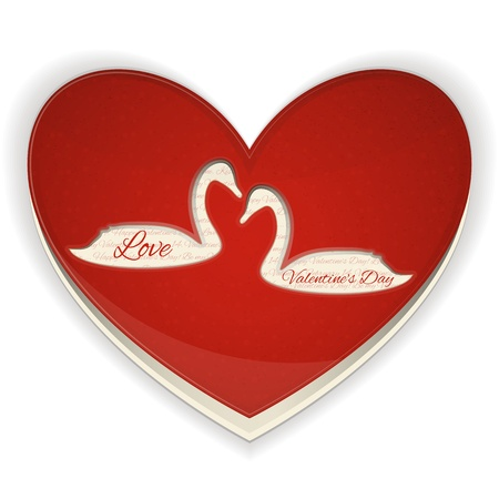 Valentines Heart with Swans on White Background. Vector Illustration. Vector