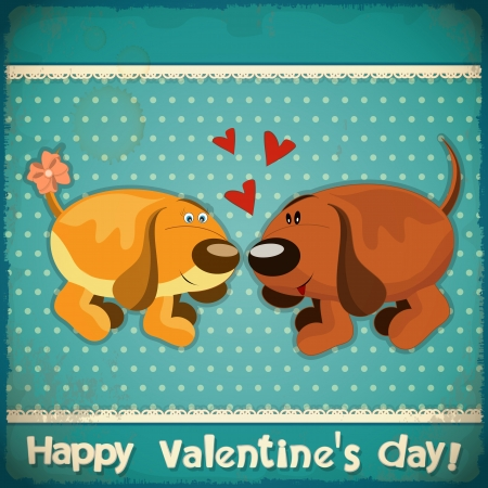 Valentines Day Vintage Card with cartoon dogs and hand lettering in Retro style - vector illustration Vector