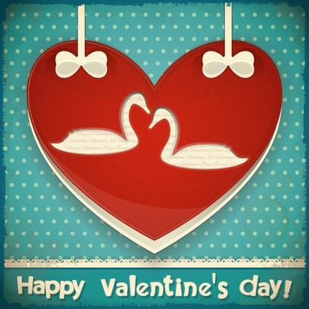 Valentines Greeting Card. Heart with Swans on Blue Retro Background. Vector Illustration. Vector