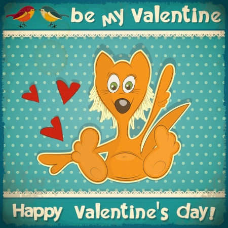 Valentines Day Vintage Card with cartoon Fox, Birds and hand lettering in Retro style - vector illustration Stock Vector - 17435027