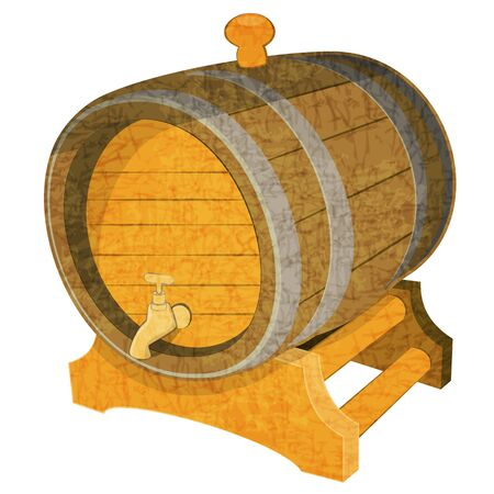Wine Wooden Vintage Cask on White Background Vector