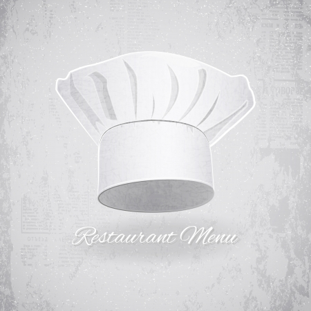 Retro Restaurant Card  Chef Hat on Vintage Background Vector