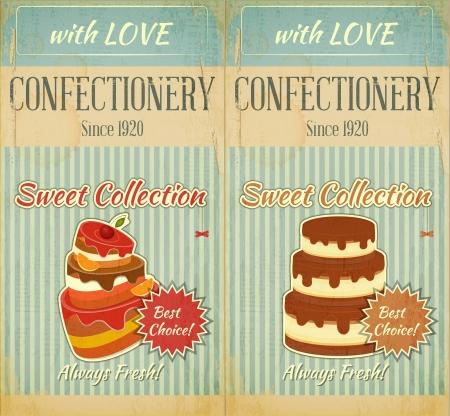 Set of Retro Menu with Cake for Confectionery   Illustration  Illustration