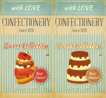 Set of Retro Menu with Cake for Confectionery Illustration