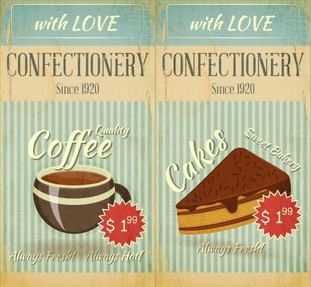 menu de postres: Vintage dos tarjetas del men� Cafe postre reposter�a en estilo retro - ilustraci�n Vectores