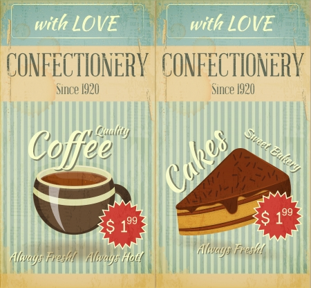 Vintage two Cards Cafe confectionery dessert  Menu in Retro style -  illustration Vector