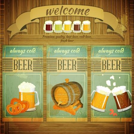 cerveza: Men� Pub Beer in Style Retro Grunge Vintage, conjunto de etiquetas en el fondo de madera. Ilustraci�n. Vectores