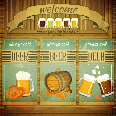 beer mugs: Pub Beer Menu in Retro Vintage Grunge Style, Set of Labels on Wooden Background.  Illustration.