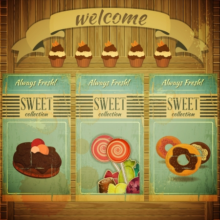 donut shop: Sweet Menu for Confectionery in Retro Vintage Grunge Style, Set of Labels on Wooden Background   Illustration