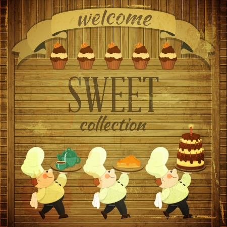 baker: Cafe Menu Card in Retro style - Cooks brought  Dessert on Wooden Grunge Background -  illustration
