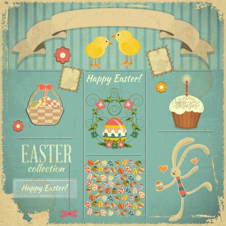 easter holiday: Retro Card with Easter Set  Vector Illustration