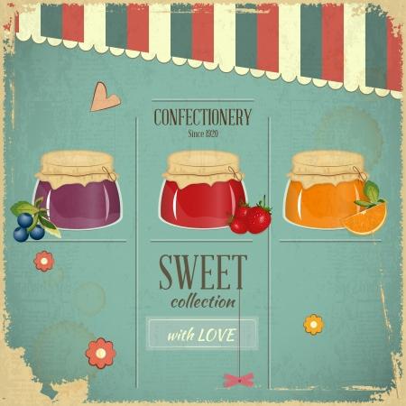 Süßwaren-Menü-Karte im Retro-Stil - Jam Marmelade Dessert auf Vintage Hintergrund - Vektor-Illustration