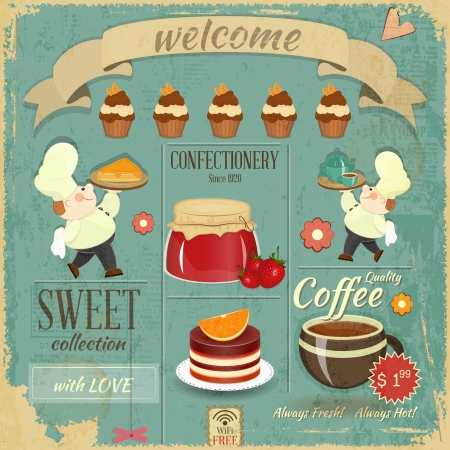 retro man: Sweet Cafe Menu Card in Retro style - Cooks brought  Dessert and Pastry on Grunge Background - Vector illustration