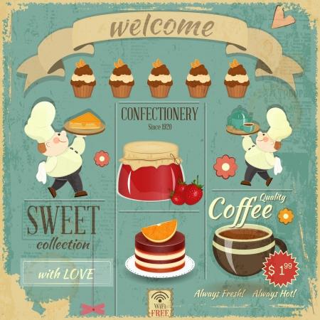 cocina caricatura: Tarjeta dulce Menu Cafe en estilo retro - Cocineros trajeron postres y pasteles en fondo del grunge - ilustración vectorial