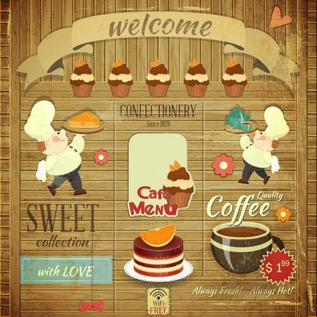 chef caricatura: Cafe Tarjeta del men� de la Confiter�a en estilo retro - Cocineros trajo postre en fondo del grunge de madera - ilustraci�n vectorial
