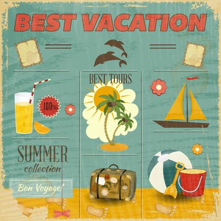 old items: Summer Card in retro Style. Vintage Vacation Postcard with Summer Items in Old Style. Vector Illustration.