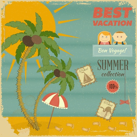 Summer Vacation Card in retro Style. Vintage Postcard with Summer Items in Old Style. Vector Illustration. Vector